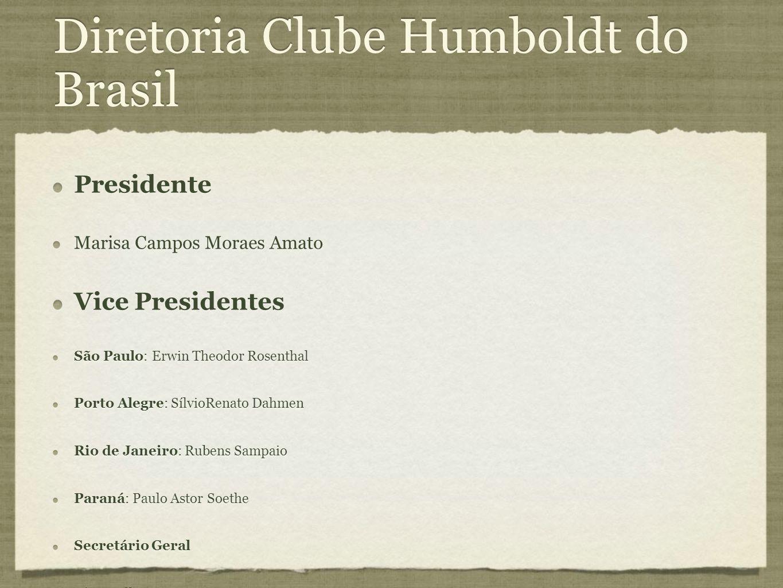 Diretoria Clube Humboldt do Brasil Presidente Marisa Campos Moraes Amato Vice Presidentes São Paulo: Erwin Theodor Rosenthal Porto Alegre: SílvioRenat
