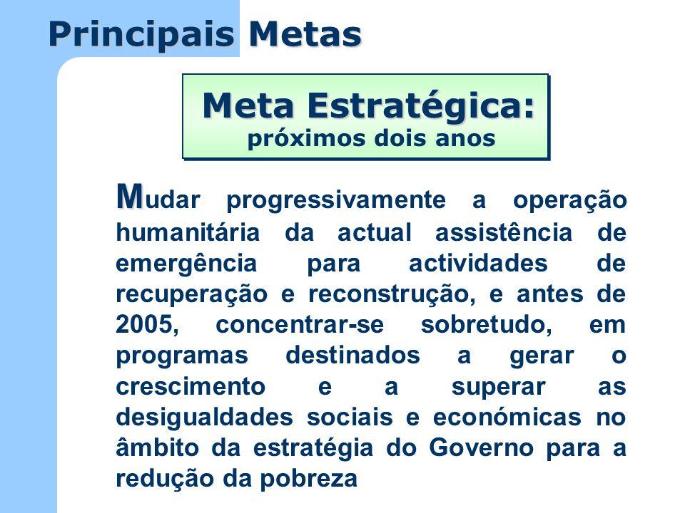 Principais Metas Meta Estratégica: A A lcançar gradualmente as metas e alvos do milénio acordados pelas Nações Unidas em 2000, e satisfazer os direitos sociais, económicos, políticos e culturais fundamentais expressos na legislação angolana próximos cinco a dez anos