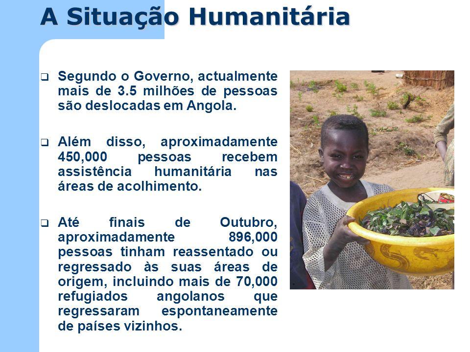 Durante o ano de 2002, como resultado de assistência humanitária directa, foram salvas as vidas de mais de um milhão de angolanos.
