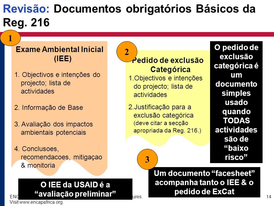 ENCAP EA-ESD Training Course: USAID sub-project procedures. Visit www.encapafrica.org. 14 Revisão: Documentos obrigatórios Básicos da Reg. 216 Exame A