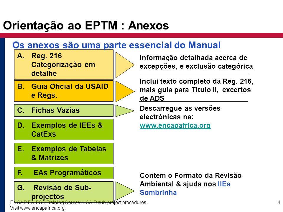 ENCAP EA-ESD Training Course: USAID sub-project procedures. Visit www.encapafrica.org. 4 Orientação ao EPTM : Anexos C. Fichas Vazias E. Exemplos de T
