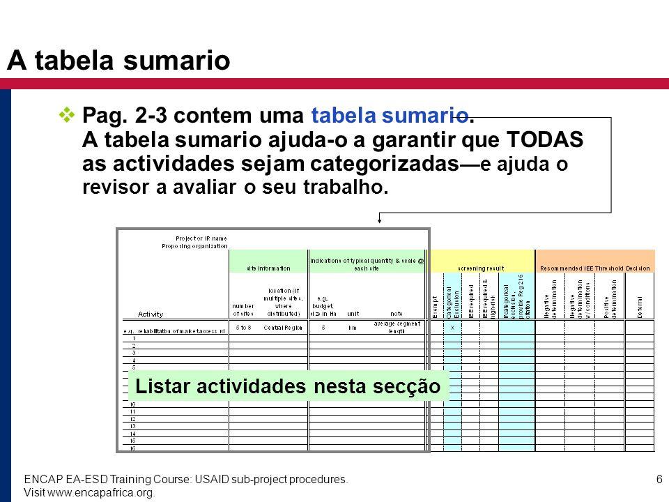 ENCAP EA-ESD Training Course: USAID sub-project procedures. Visit www.encapafrica.org. 6 Pag. 2-3 contem uma tabela sumario. A tabela sumario ajuda-o