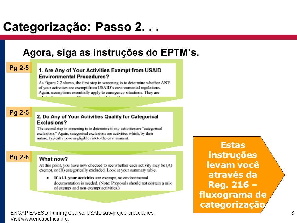 ENCAP EA-ESD Training Course: USAID sub-project procedures. Visit www.encapafrica.org. 8 Categorização: Passo 2... Agora, siga as instruções do EPTMs.