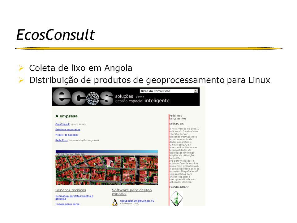 EcosConsult Coleta de lixo em Angola Distribuição de produtos de geoprocessamento para Linux