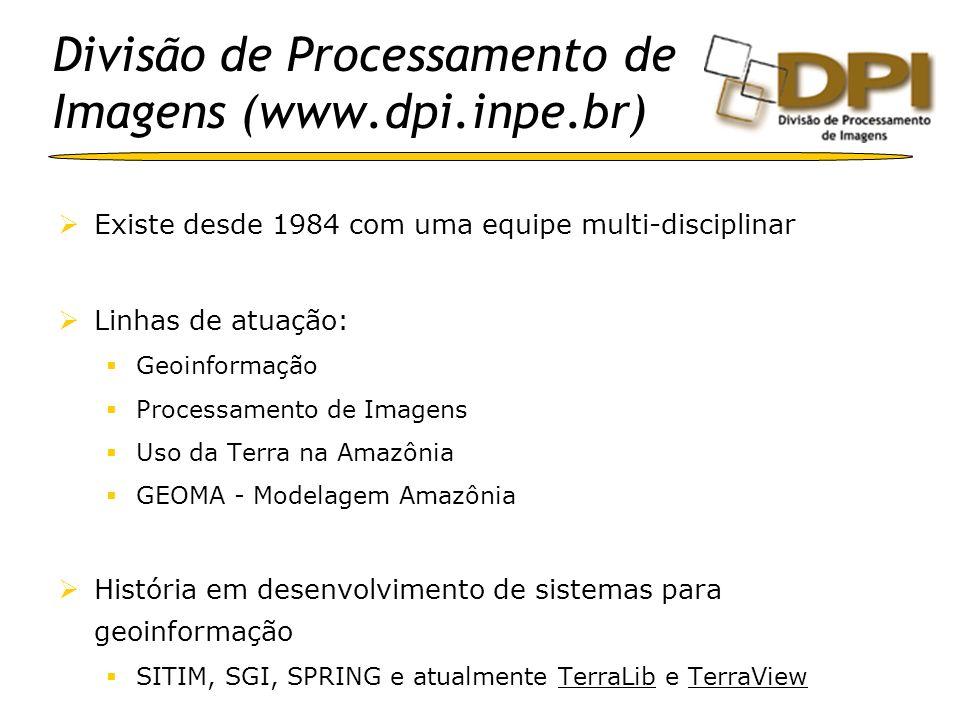 Divisão de Processamento de Imagens (www.dpi.inpe.br) Existe desde 1984 com uma equipe multi-disciplinar Linhas de atuação: Geoinformação Processament