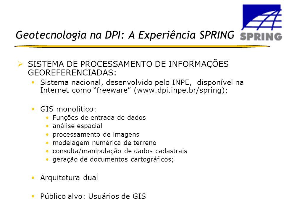 Geotecnologia na DPI: A Experiência SPRING SISTEMA DE PROCESSAMENTO DE INFORMAÇÕES GEOREFERENCIADAS: Sistema nacional, desenvolvido pelo INPE, disponí