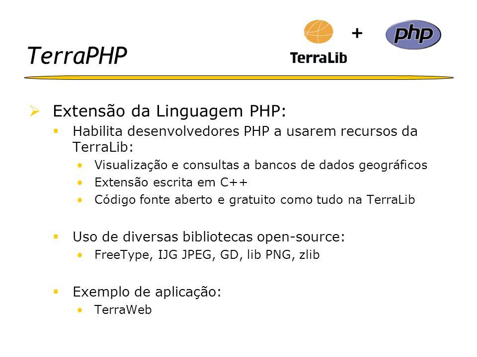 TerraPHP Extensão da Linguagem PHP: Habilita desenvolvedores PHP a usarem recursos da TerraLib: Visualização e consultas a bancos de dados geográficos