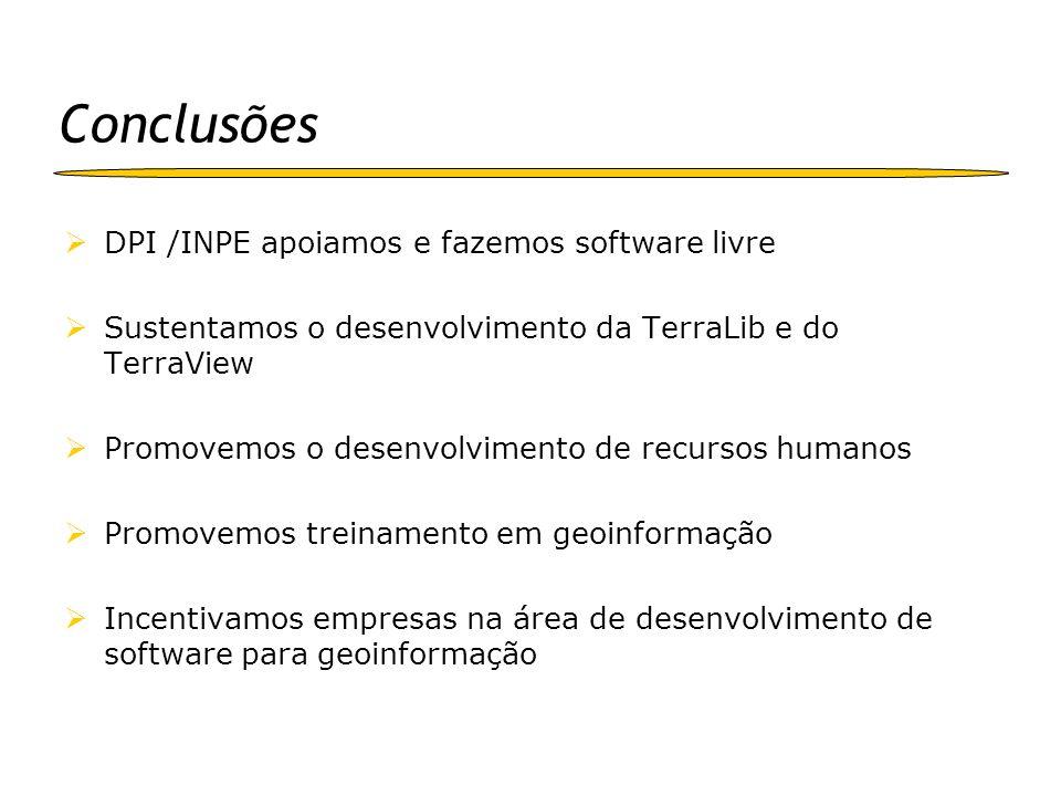 Conclusões DPI /INPE apoiamos e fazemos software livre Sustentamos o desenvolvimento da TerraLib e do TerraView Promovemos o desenvolvimento de recurs