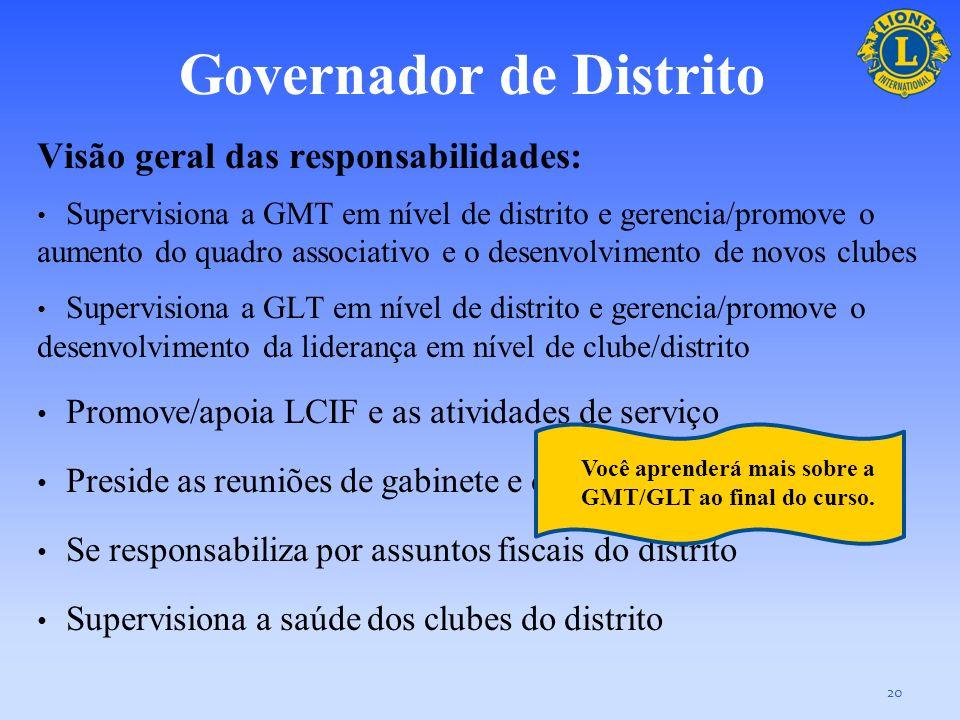 Governador de Distrito O governador de distrito é o dirigente administrativo principal do distrito e serve como líder da equipe do governador de distr