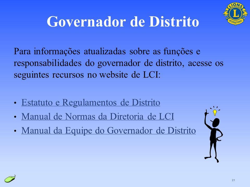 Visão geral das responsabilidades: Supervisiona a GMT em nível de distrito e gerencia/promove o aumento do quadro associativo e o desenvolvimento de n