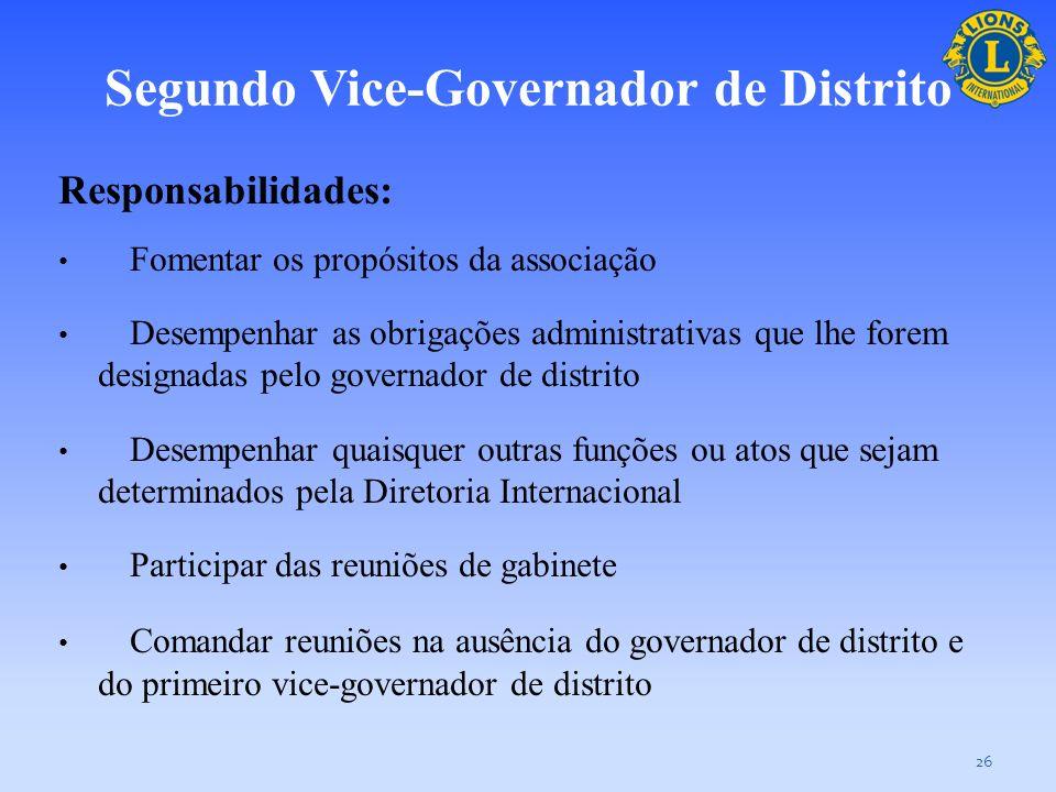 Segundo Vice-Governador de Distrito Você, o segundo vice-governador de distrito, oferece assistência diretamente na administração do distrito, podendo