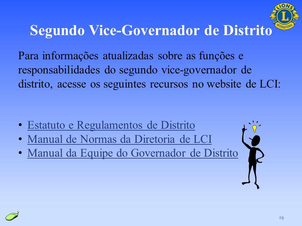 Segundo Vice-Governador de Distrito 28 Responsabilidades: Servir como o principal elemento de ligação da equipe do governador de distrito perante a GL