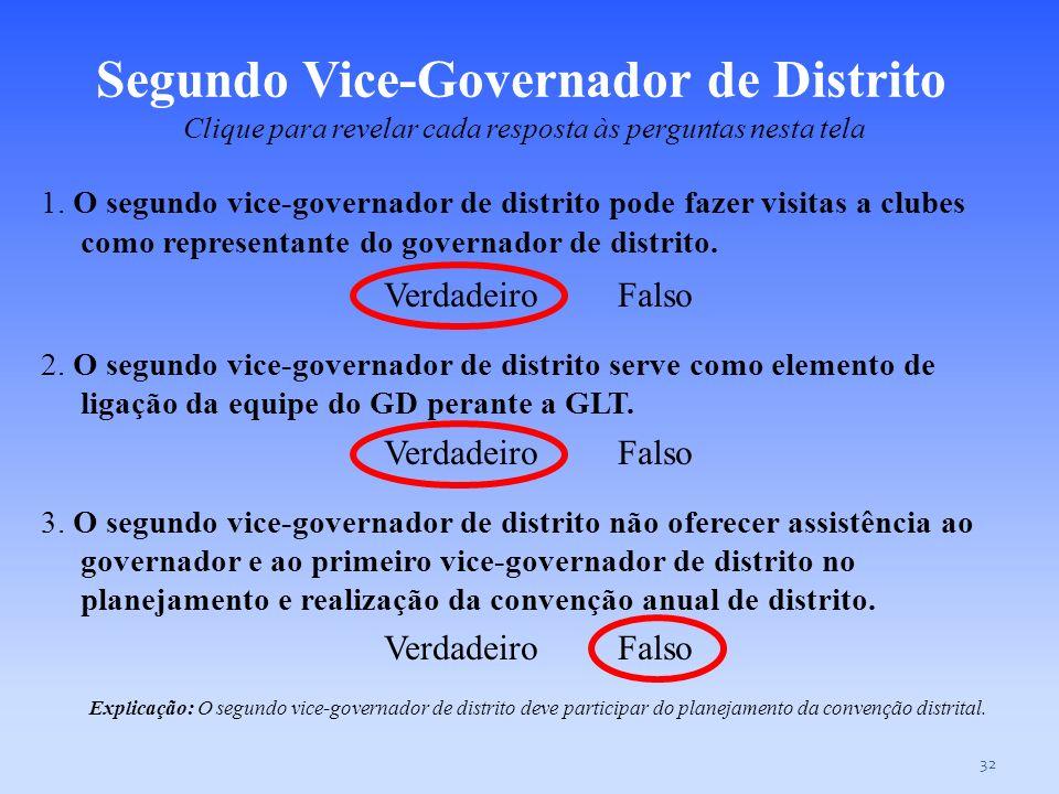 31 1. O governador de distrito é o dirigente executivo do distrito. Verdadeiro Falso 2. O governador de distrito serve como elemento de ligação da equ