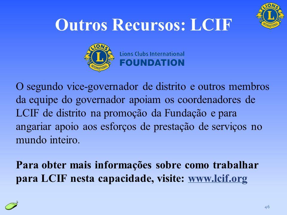 Outros recursos: Informações sobre o distrito Os seguintes recursos de LCI oferecem informações gerais sobre o cargo de segundo vice-governador de dis