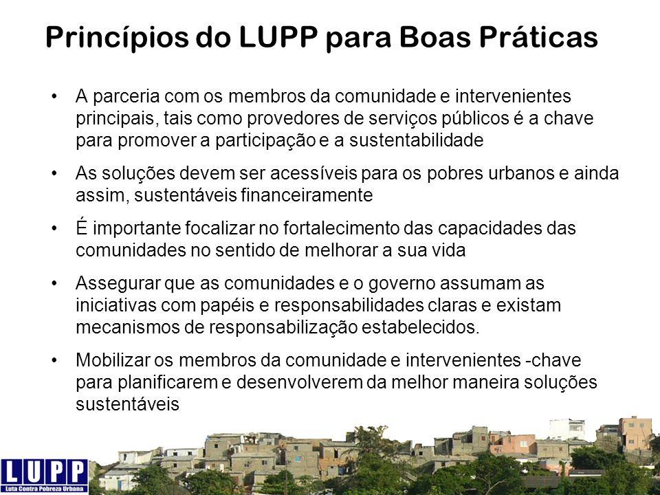 Princípios do LUPP para Boas Práticas A parceria com os membros da comunidade e intervenientes principais, tais como provedores de serviços públicos é