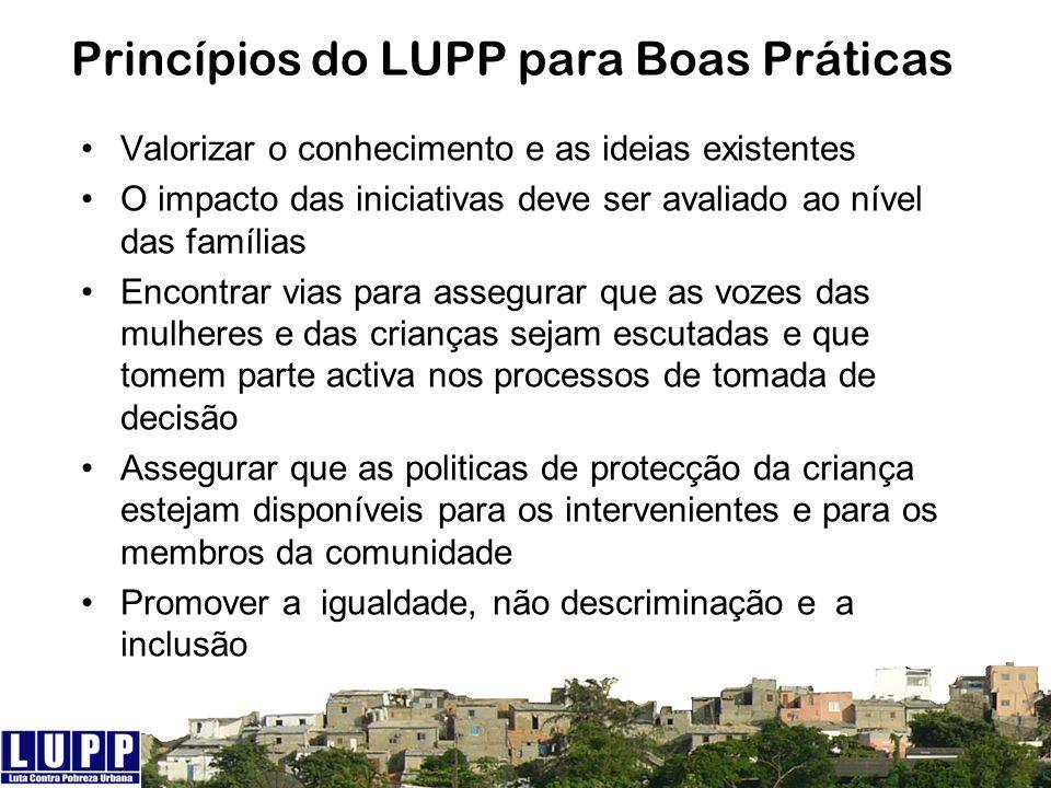 Princípios do LUPP para Boas Práticas Valorizar o conhecimento e as ideias existentes O impacto das iniciativas deve ser avaliado ao nível das família