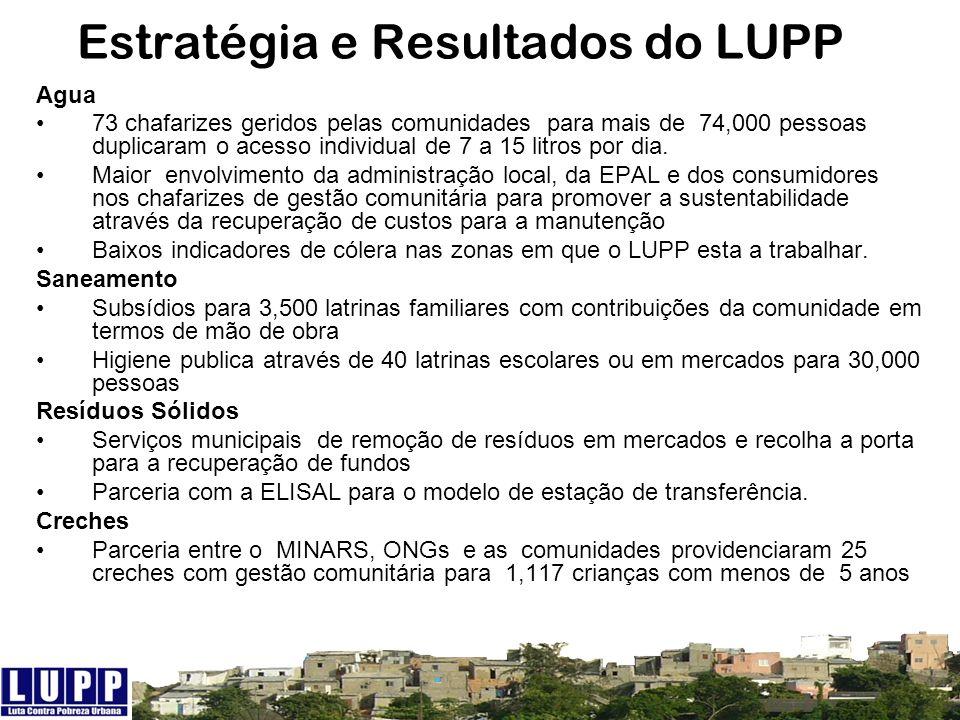 Estratégia e Resultados do LUPP Agua 73 chafarizes geridos pelas comunidades para mais de 74,000 pessoas duplicaram o acesso individual de 7 a 15 litr