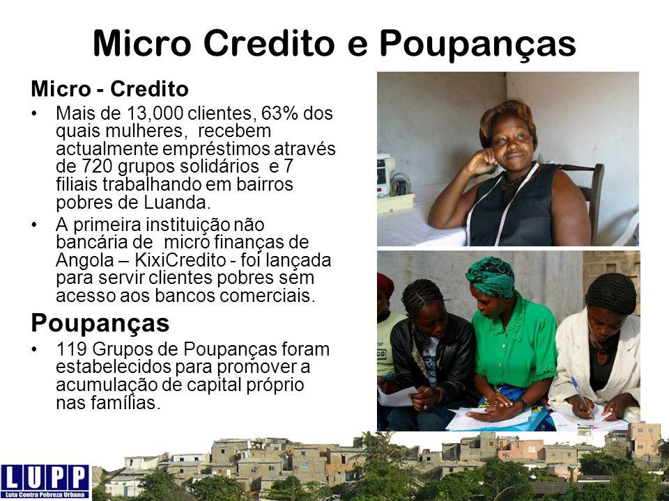Micro Credito e Poupanças Micro - Credito Mais de 13,000 clientes, 63% dos quais mulheres, recebem actualmente empréstimos através de 720 grupos solid