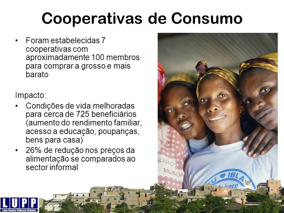 Cooperativas de Consumo Foram estabelecidas 7 cooperativas com aproximadamente 100 membros para comprar a grosso e mais barato Impacto: Condições de v