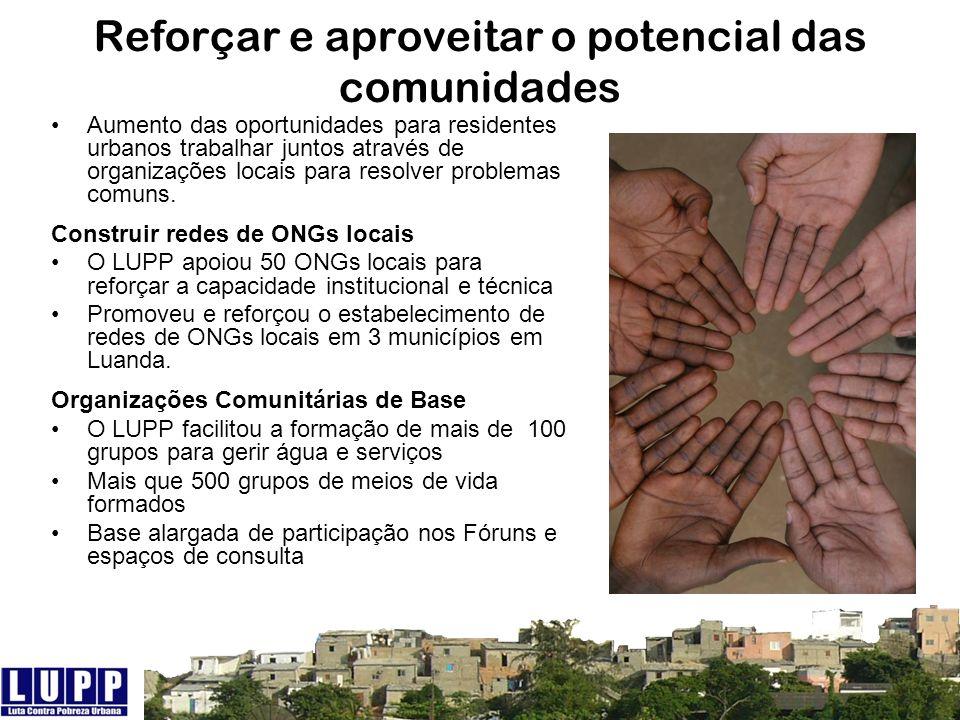 Reforçar e aproveitar o potencial das comunidades Aumento das oportunidades para residentes urbanos trabalhar juntos através de organizações locais pa