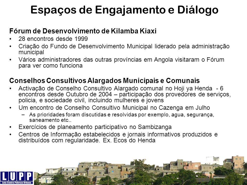 Espaços de Engajamento e Diálogo Fórum de Desenvolvimento de Kilamba Kiaxi 28 encontros desde 1999 Criação do Fundo de Desenvolvimento Municipal lider