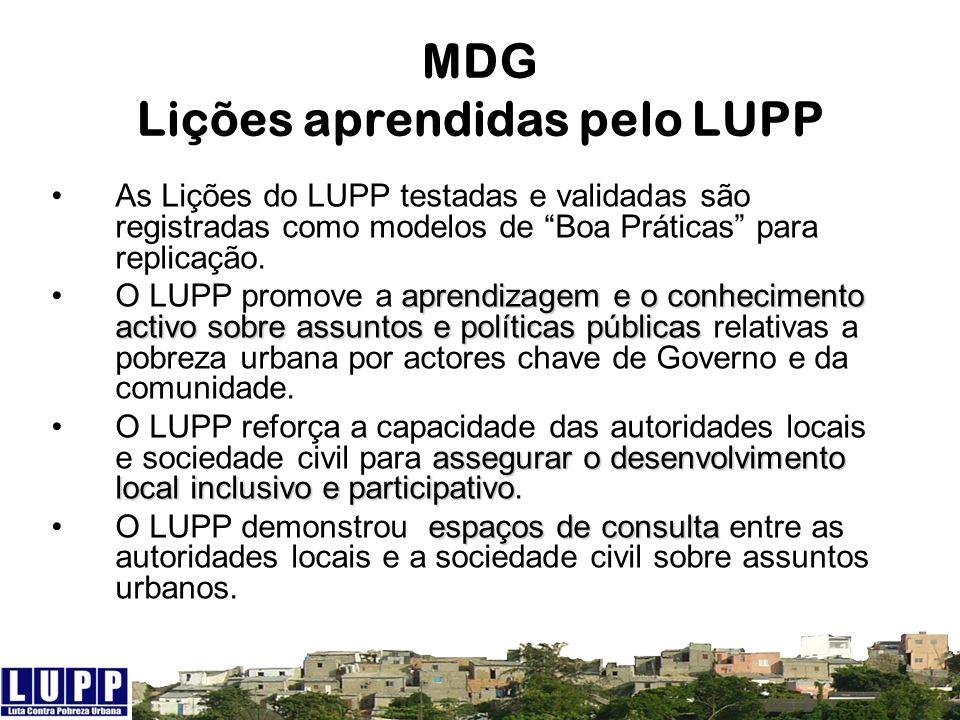 MDG Lições aprendidas pelo LUPP As Lições do LUPP testadas e validadas são registradas como modelos de Boa Práticas para replicação. aprendizagem e o