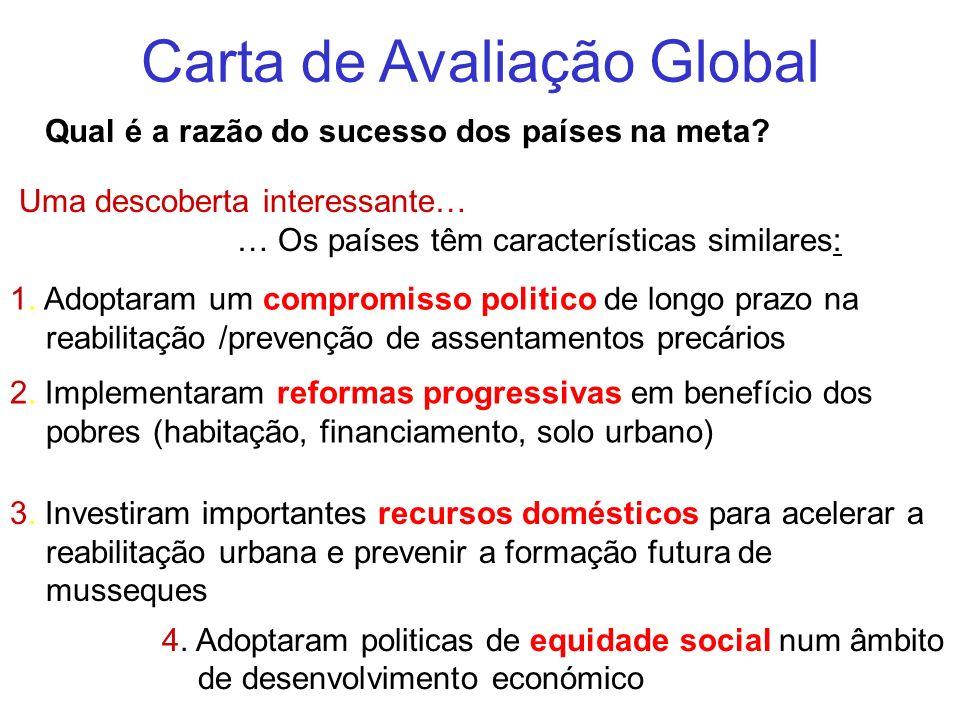 Carta de Avaliação Global Qual é a razão do sucesso dos países na meta? Uma descoberta interessante… … Os países têm características similares: 4. Ado