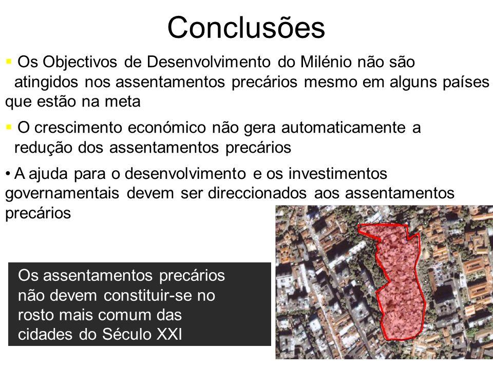 Os Objectivos de Desenvolvimento do Milénio não são atingidos nos assentamentos precários mesmo em alguns países que estão na meta O crescimento econó