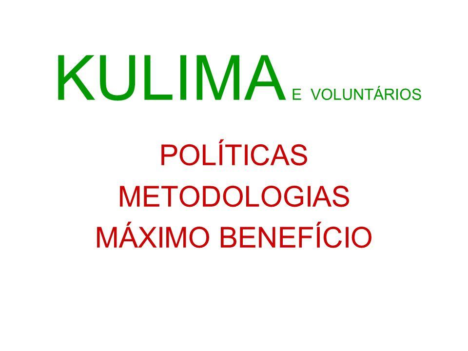 KULIMA E VOLUNTÁRIOS POLÍTICAS METODOLOGIAS MÁXIMO BENEFÍCIO