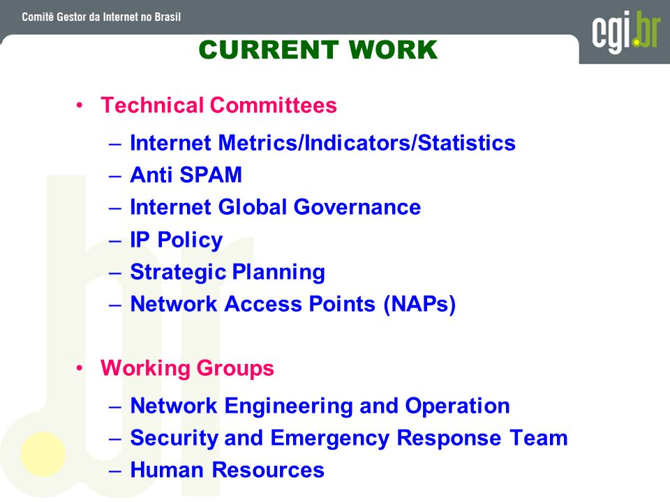 CURRENT WORK Technical Committees –Internet Metrics/Indicators/Statistics –Anti SPAM –Internet Global Governance –IP Policy –Strategic Planning –Netwo