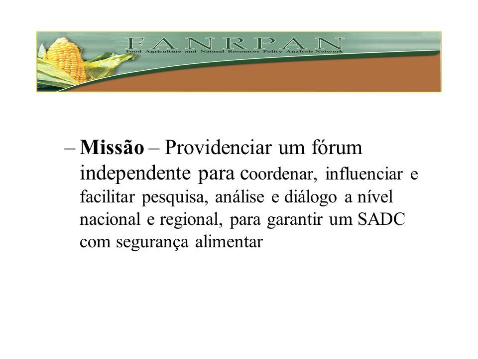 1994 – Ministros da Agricultura da SADC recomendam a criação da FANRPAN –Objectivo – Melhorar a capacidade de formulação e análise de políticas para A