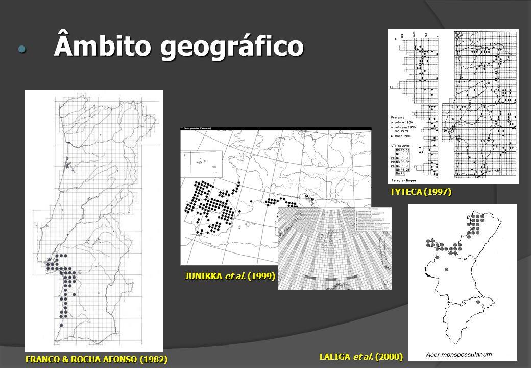 Âmbito geográfico Âmbito geográfico FRANCO & ROCHA AFONSO (1982) JUNIKKA et al. (1999) TYTECA (1997) LALIGA et al. (2000)