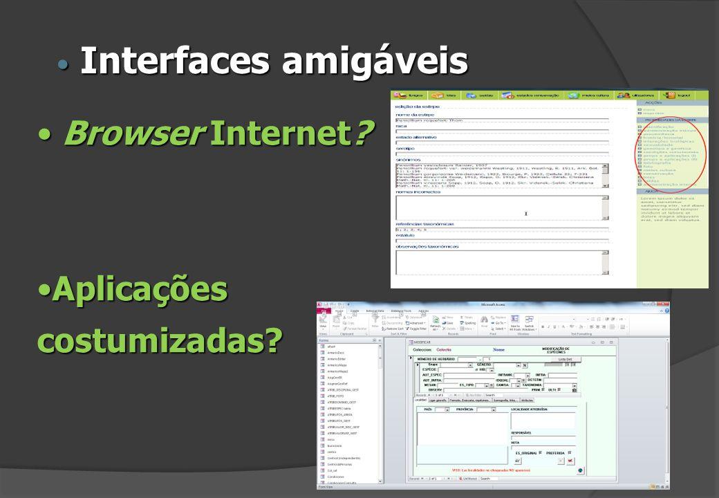 Browser Internet? Browser Internet? AplicaçõesAplicaçõescostumizadas? Interfaces amigáveis Interfaces amigáveis