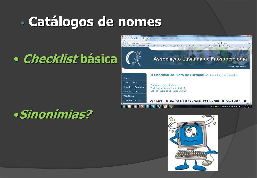Checklist básica Checklist básica Sinonímias?Sinonímias? Catálogos de nomes Catálogos de nomes
