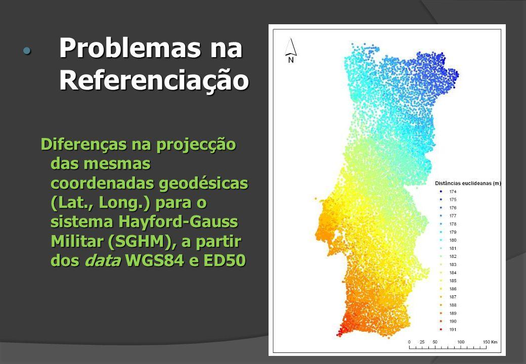 Diferenças na projecção das mesmas coordenadas geodésicas (Lat., Long.) para o sistema Hayford-Gauss Militar (SGHM), a partir dos data WGS84 e ED50 Pr