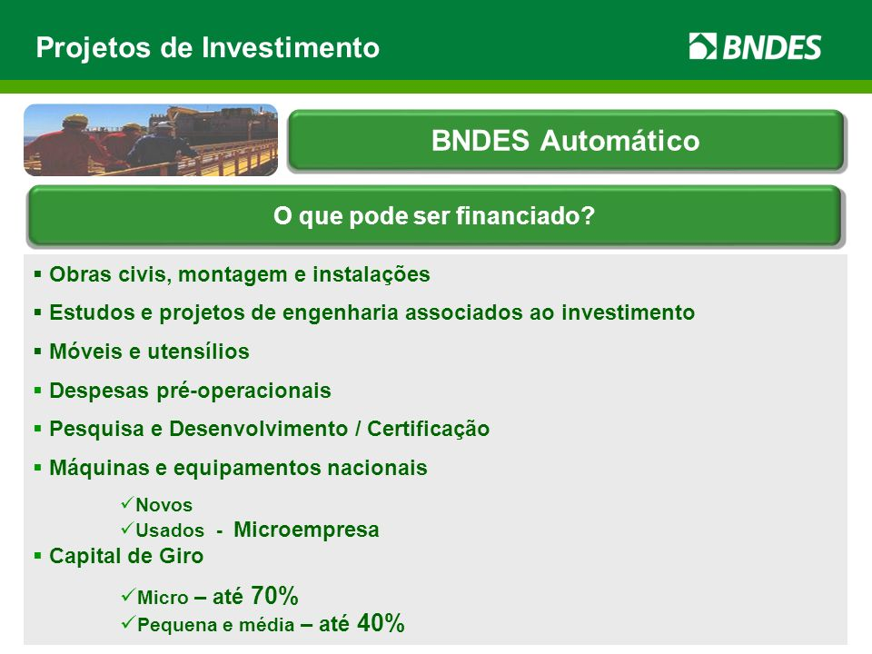 Obras civis, montagem e instalações Estudos e projetos de engenharia associados ao investimento Móveis e utensílios Despesas pré-operacionais Pesquisa