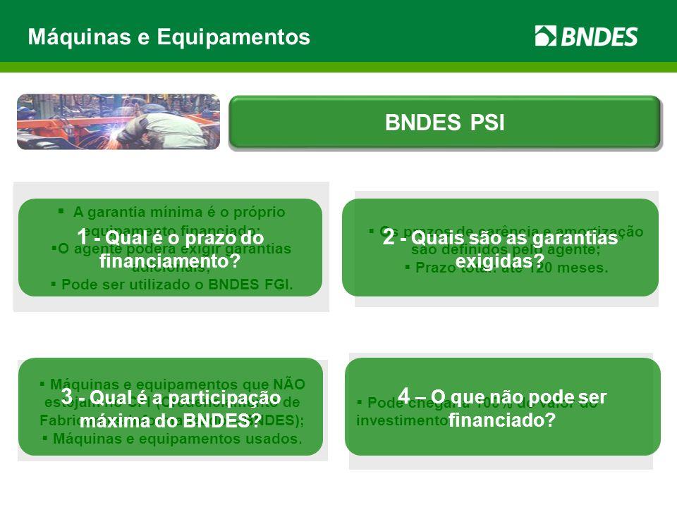 Máquinas e equipamentos que NÃO estejam no CFI (Credenciamento de Fabricantes Informatizado – BNDES); Máquinas e equipamentos usados. Pode chegar a 10