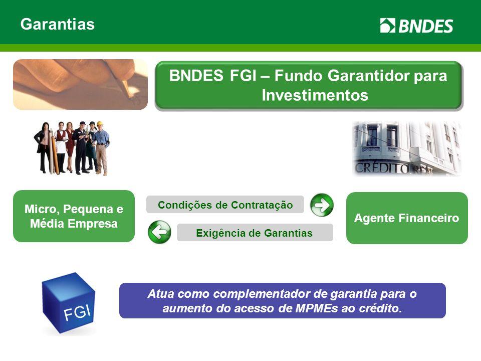 Micro, Pequena e Média Empresa Agente Financeiro Condições de Contratação Exigência de Garantias FGI Atua como complementador de garantia para o aumen