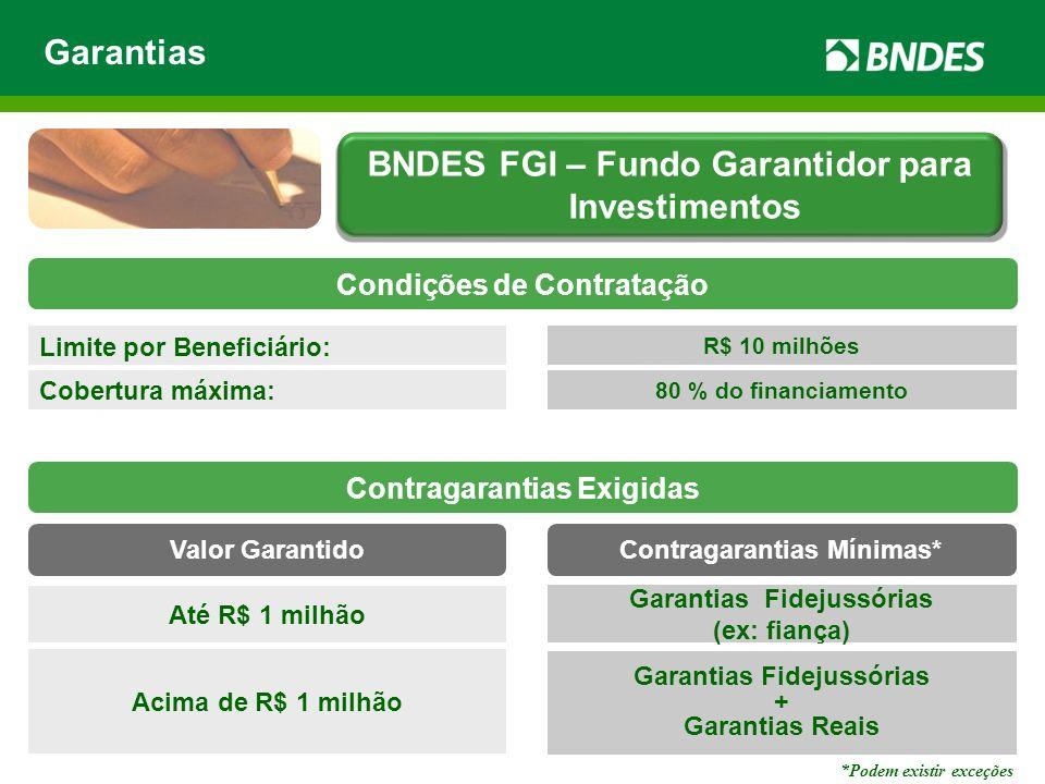 Limite por Beneficiário: R$ 10 milhões Cobertura máxima: 80 % do financiamento Garantias Fidejussórias (ex: fiança) Acima de R$ 1 milhão Garantias Fid