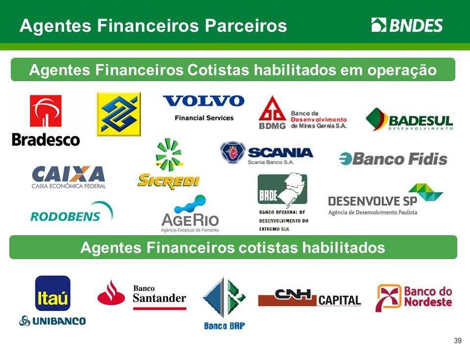 Agentes Financeiros Parceiros 39 Agentes Financeiros Cotistas habilitados em operação Agentes Financeiros cotistas habilitados