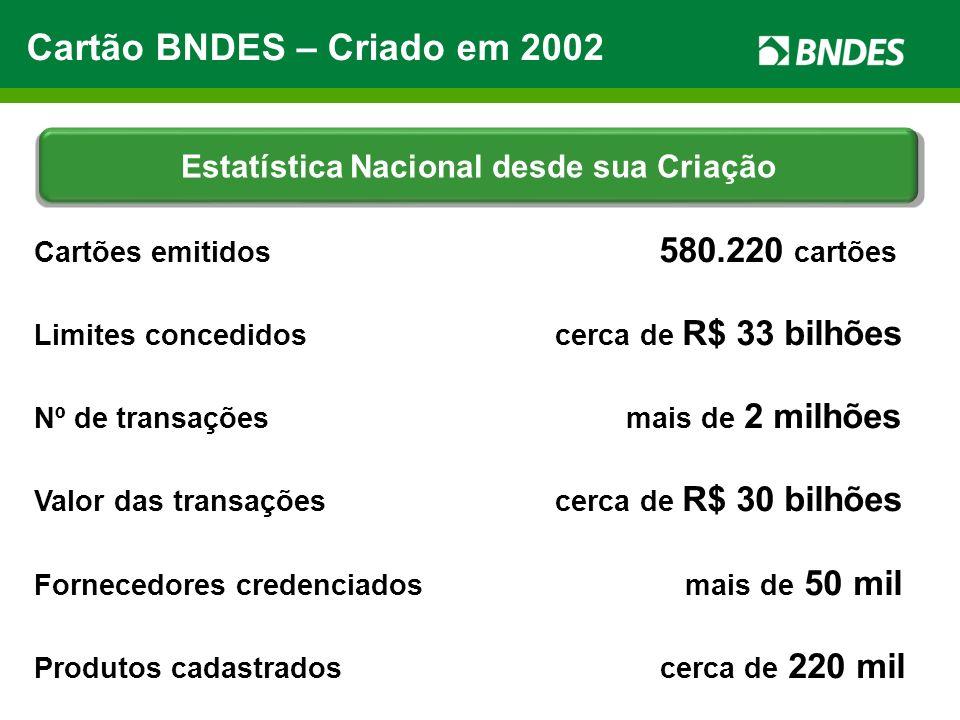 Cartões emitidos 580.220 cartões Limites concedidos cerca de R$ 33 bilhões Nº de transações mais de 2 milhões Valor das transações cerca de R$ 30 bilh