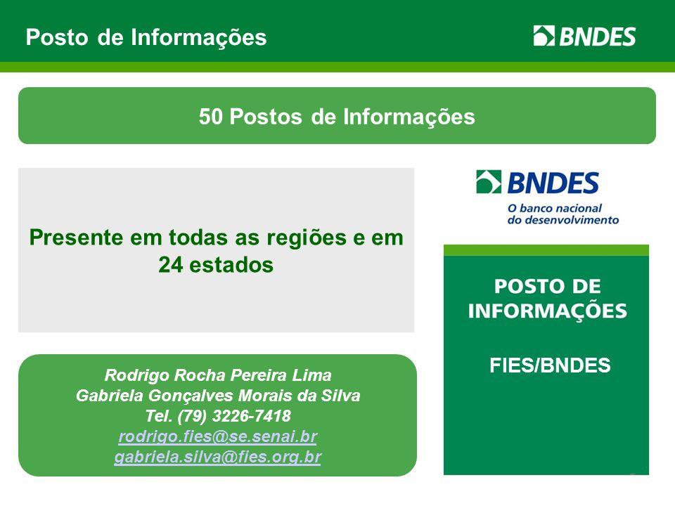Posto de Informações FIES/BNDES Presente em todas as regiões e em 24 estados 50 Postos de Informações Rodrigo Rocha Pereira Lima Gabriela Gonçalves Mo
