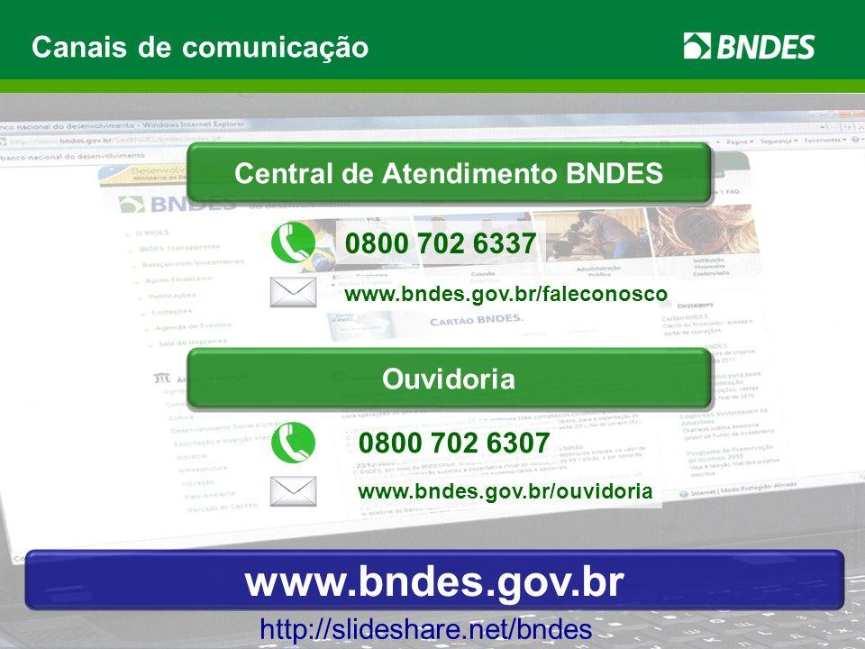 Canais de comunicação http://slideshare.net/bndes Central Atendimento BNDES www.bndes.gov.br/faleconosco 0800 702 6337 0800 702 6307 www.bndes.gov.br/