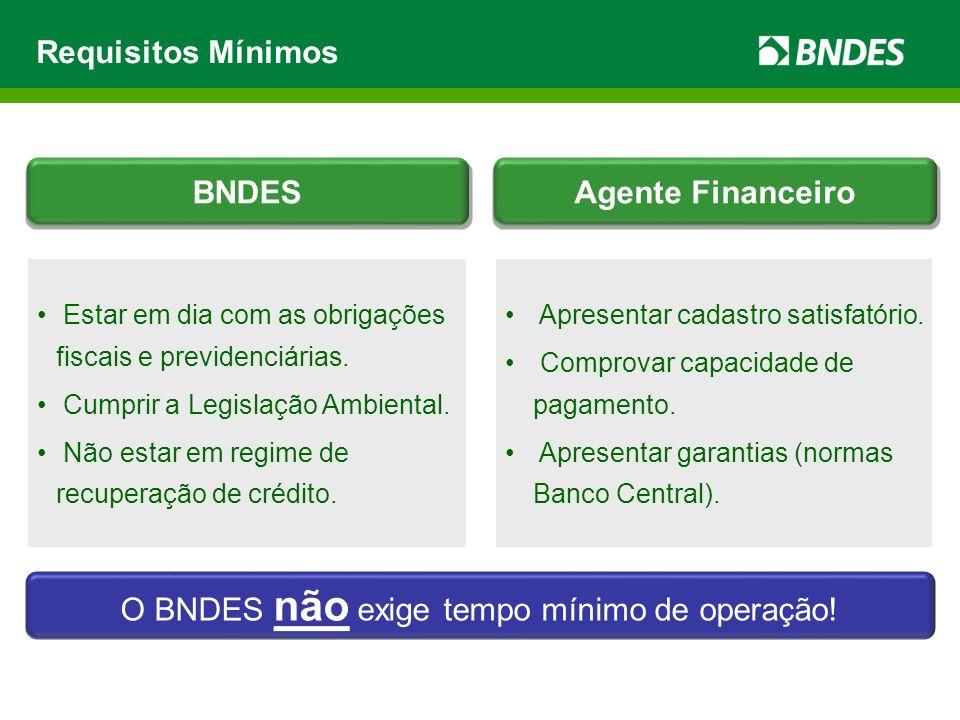 Requisitos Mínimos Apresentar cadastro satisfatório. Comprovar capacidade de pagamento. Apresentar garantias (normas Banco Central). Estar em dia com