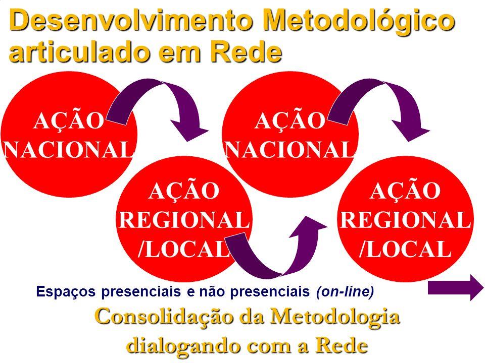 Espaços presenciais e não presenciais (on-line) AÇÃO NACIONAL Desenvolvimento Metodológico articulado em Rede AÇÃO REGIONAL /LOCAL AÇÃO NACIONAL AÇÃO