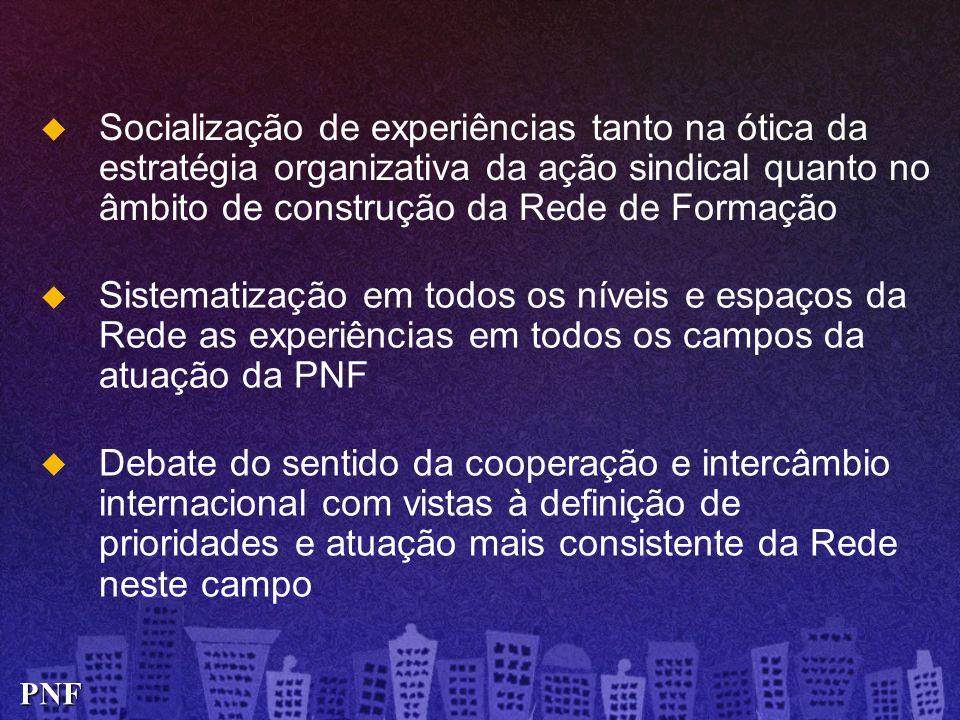 Socialização de experiências tanto na ótica da estratégia organizativa da ação sindical quanto no âmbito de construção da Rede de Formação Debate do s