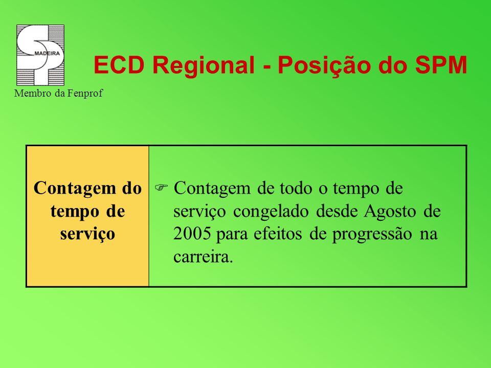 ECD Regional - Posição do SPM Contagem do tempo de serviço Contagem de todo o tempo de serviço congelado desde Agosto de 2005 para efeitos de progress