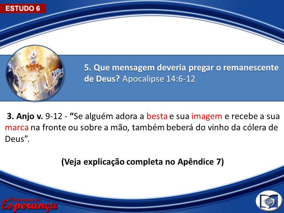 5. Que mensagem deveria pregar o remanescente de Deus? Apocalipse 14:6-12 3. Anjo v. 9-12 - Se alguém adora a besta e sua imagem e recebe a sua marca