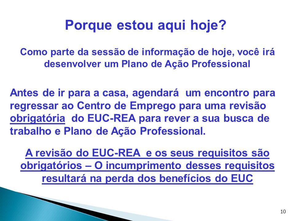 10 Porque estou aqui hoje? Como parte da sessão de informação de hoje, você irá desenvolver um Plano de Ação Professional Antes de ir para a casa, age