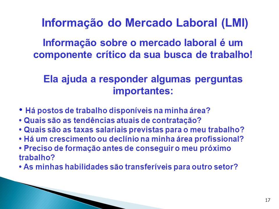 17 Informação do Mercado Laboral (LMI) Informação sobre o mercado laboral é um componente crítico da sua busca de trabalho! Ela ajuda a responder algu